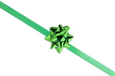slant: Green bow ribbon in a slant pattern