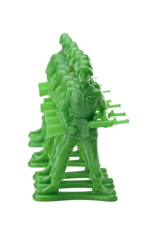 In line green military miniature against white background Stock Photo - 16225751