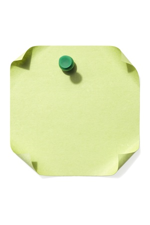 paper pin: Image of green pushpin on a blank note paper over the white background Stock Photo