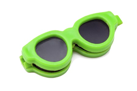 Close-up image of a green retro sunglasses against white background Stock Photo - 16225794