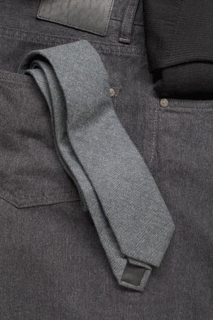 Image of grey necktie in jeans pocket Stock Photo - 16226035