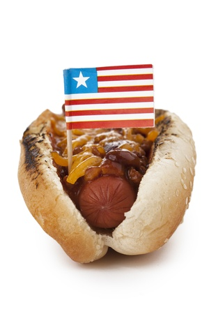 Grilled cheese sandwich hotdog with liberian flag photo