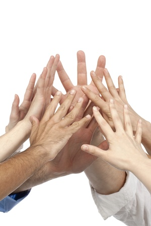 Image of a group of business people holding hands together over the white background Stock Photo - 16226225