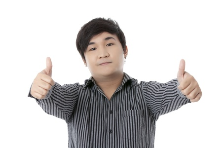 posing  agree: Portrait of guy making thumbs up sign against white background Stock Photo