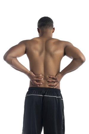Portrait guy suffering back pain against white background Stock Photo - 16226248