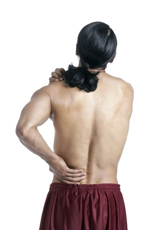old man on a physical pressure: Image of guy suffering lower back pain against white background