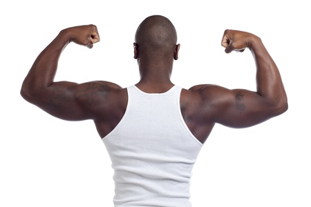 half body: Half body of muscular man isolated in white background Stock Photo