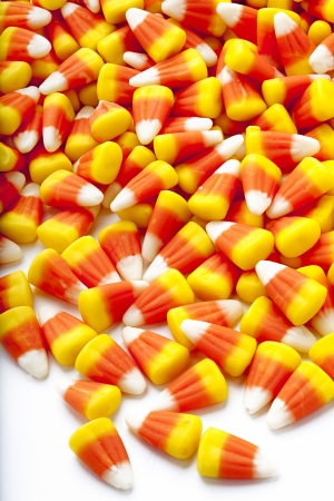 rubbery: Candy corn scattered on floor