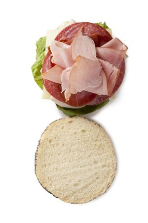 Top view shot of a yummy ham and salami sandwich Reklamní fotografie