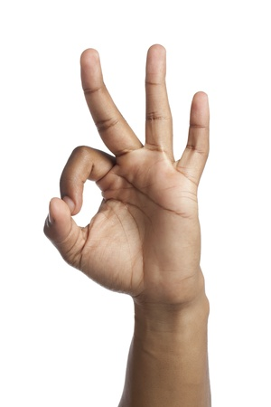 three persons: Close-up image of human hand counting three over the white background