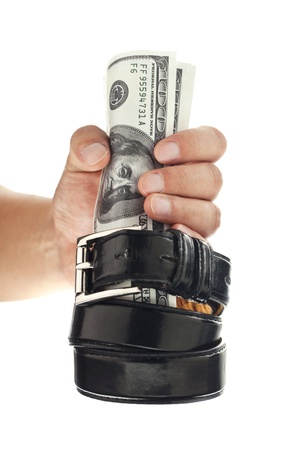 A close-up portrait of hand grip on the dollar over a white surface Stock Photo - 16225871