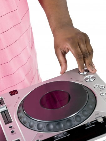 Portrait of a hand of the dj playing music on the turntable over the white background Stock Photo - 16225941