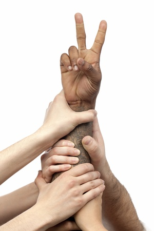 Group of human hands with arm raised in victory sign Stock Photo - 16225880