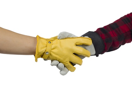Two human hand making hand shake against white background Stock Photo - 16225778