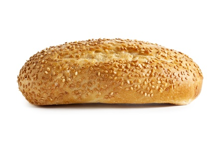 Close up image of bread with sesame seeds against white background Stock Photo - 16957589