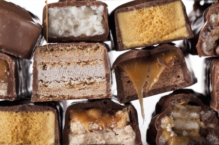 fattening: Various and different fattening chocolate bars Stock Photo