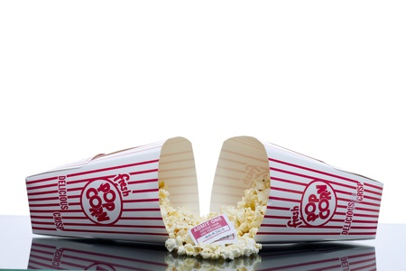 Image of fell two pop corn box with movie tickets on the midst Stock Photo - 16956314