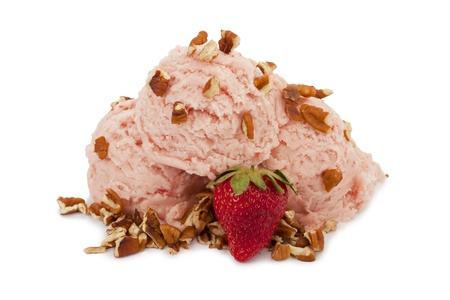 Yummy strawberry ice cream with nuts