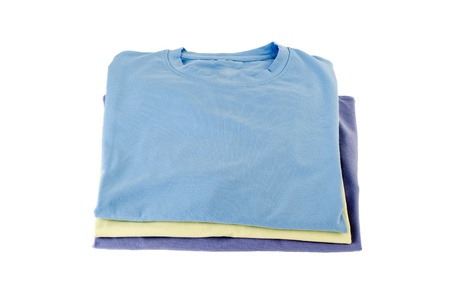 collarless: Close-up shot of three t-shirts displayed on white background.