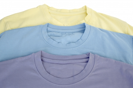 collarless: Three color of t-shirts in a macro image