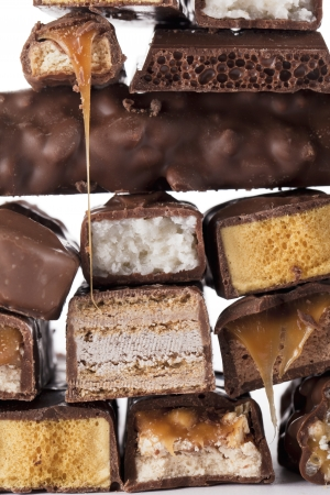 Pile of yummy chocolate bars photo