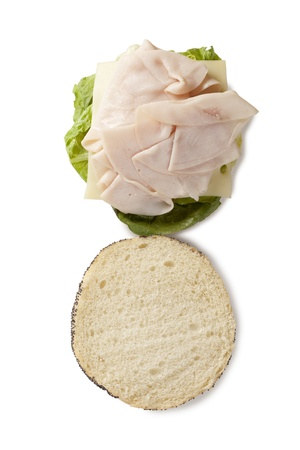 ham sandwich: Immagine di panino al prosciutto gustoso su sfondo bianco
