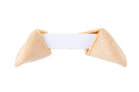 Close up image of a fortune cookie isolated on photo