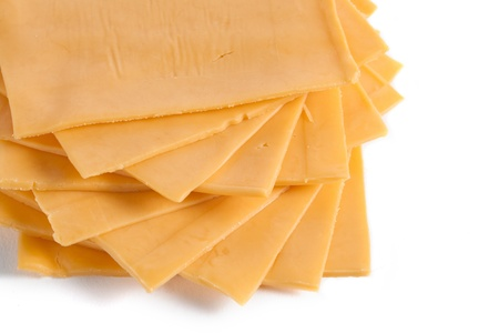American cheese sliced in a cropped image Archivio Fotografico