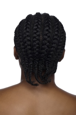 Image of back view of a black woman against white background photo