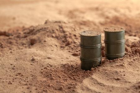 Oil barrels in a military camp