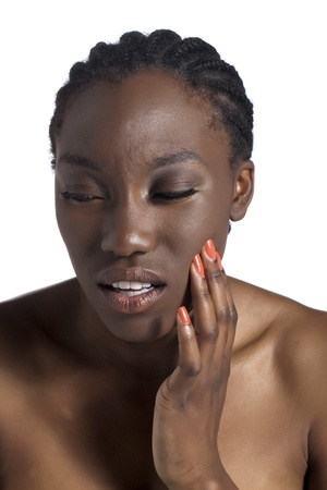 painfully: Portrait of black woman having a toothache isolated on a white surface