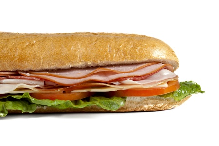 tempting: A close up cropped image of a yummy and tempting sandwich against white background Stock Photo