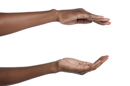 invisible object: Human hand holding an invisible object over a white background Stock Photo