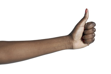 Close-up image of a human hand with an approved sign isolated on a white surface Stock Photo - 16963376