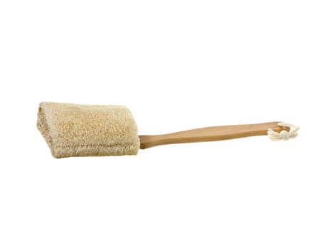 fibrous: Loofah Sponge with wooden handle isolated in a white background