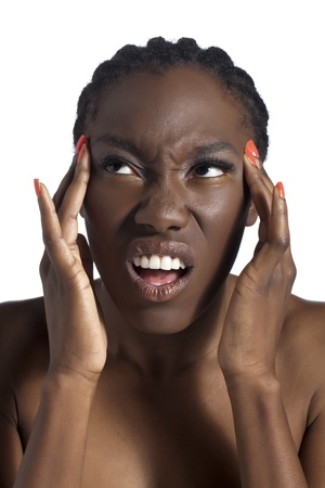 African woman suffering from migraine photo