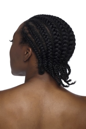 bothered: Rear view of black woman with braid hair against white background Stock Photo