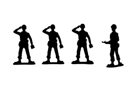 Silhouette image of a group of military toy soldiers standing on a white background photo