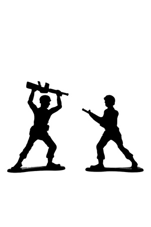 Silhouetted military miniatures in a battle against white background Stock Photo - 16962092