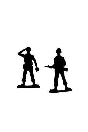 Silhouetted soldier miniatures against white background Stock Photo - 16962108