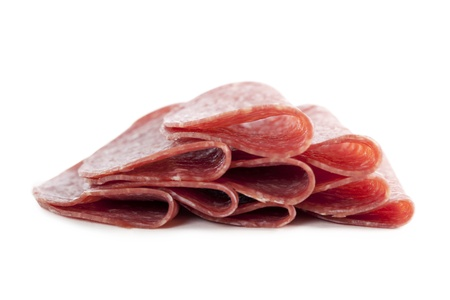Slices of ham isolated in a white background