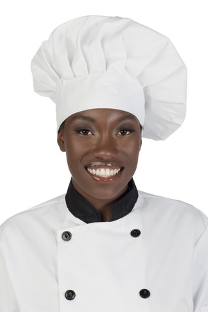 body image: Half body image of a smiling female chef over a white background