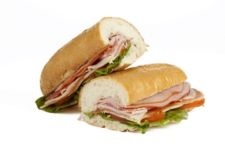 fast foot: Two slices of submarine sandwich isolated on Stock Photo