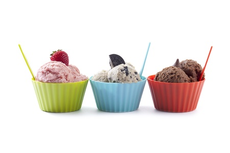 sundaes: Images of three different flavor of a tempting ice cream bowl with spoon isolated on