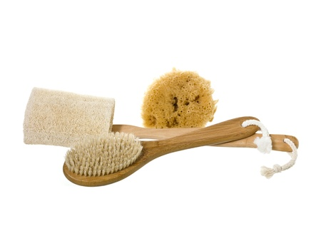 long handled: Therapeutic spa accessories with sponge, Bath Massage Scrub Brush and Loofah Long Handled Back Brush