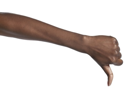 disapprove: Human hand showing thumbs down over a white background Stock Photo