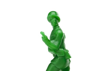 Close-up shot of a green toy army photo