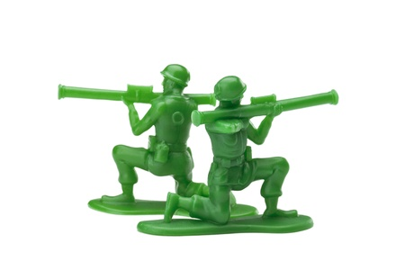 Two plastic soldiers with bazooka over a white background Stock Photo - 16963518