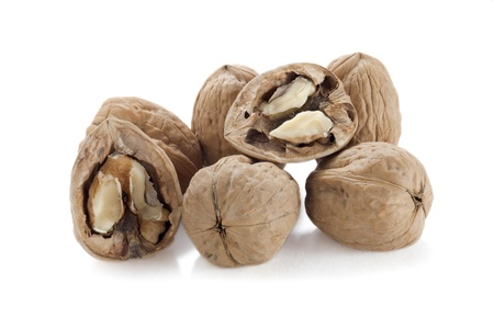 Close up image of walnuts close up against white background Stock Photo - 16962133