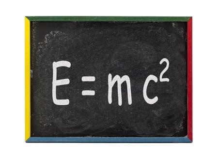 slateboard: Scientific formula written on slate board and displayed over white bacjground.